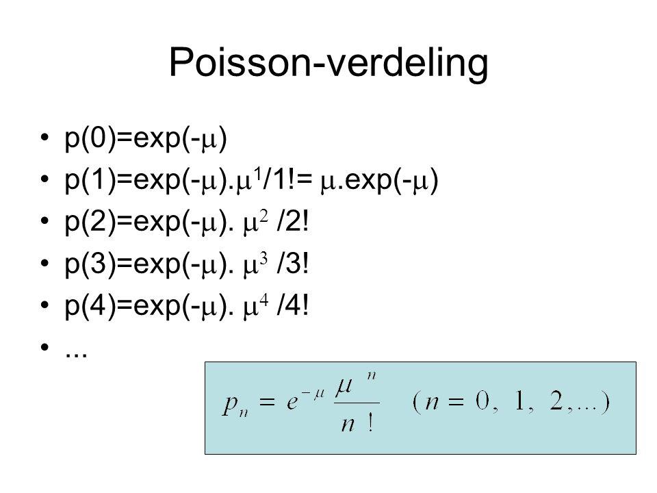 Poisson-verdeling p(0)=exp(-  ) p(1)=exp(-  ).  1 /1!= .exp(-  ) p(2)=exp(-  ).   /2! p(3)=exp(-  ).   /3! p(4)=exp(-  ).   /4!...