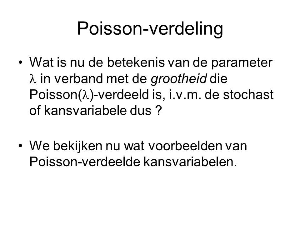 Poisson-verdeling Wat is nu de betekenis van de parameter in verband met de grootheid die Poisson( )-verdeeld is, i.v.m. de stochast of kansvariabele
