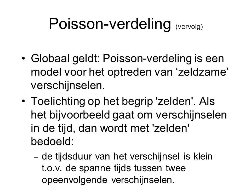 Poisson-verdeling (vervolg) Globaal geldt: Poisson-verdeling is een model voor het optreden van 'zeldzame' verschijnselen. Toelichting op het begrip '