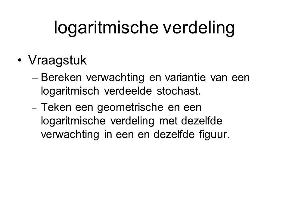 logaritmische verdeling Vraagstuk –Bereken verwachting en variantie van een logaritmisch verdeelde stochast. – Teken een geometrische en een logaritmi