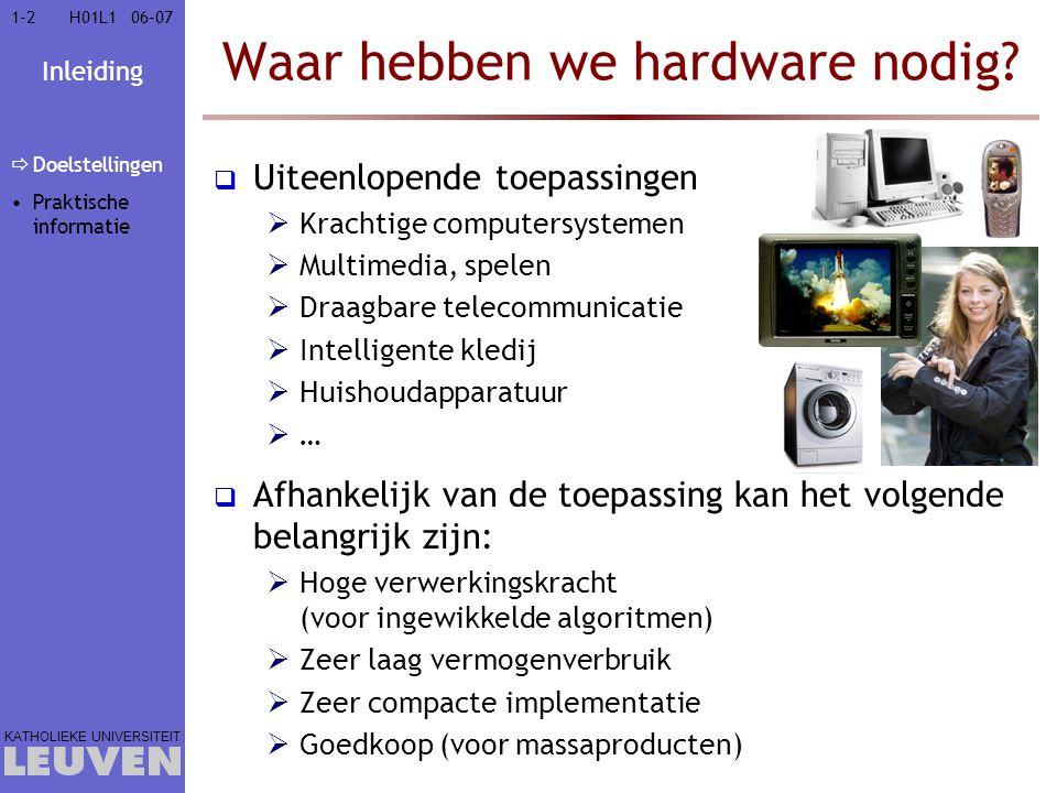 Inleiding KATHOLIEKE UNIVERSITEIT 1-21-206–07H01L1 Waar hebben we hardware nodig?  Uiteenlopende toepassingen  Krachtige computersystemen  Multimed