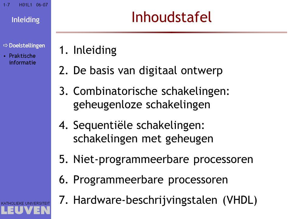 Inleiding KATHOLIEKE UNIVERSITEIT 1-71-706–07H01L1 Inhoudstafel 1.Inleiding 2.De basis van digitaal ontwerp 3.Combinatorische schakelingen: geheugenlo