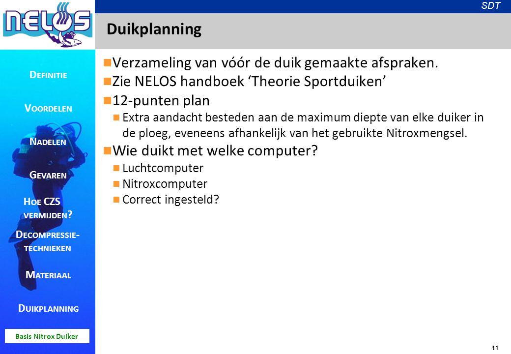 11 SDT Basis Nitrox Duiker Duikplanning Verzameling van vóór de duik gemaakte afspraken. Zie NELOS handboek 'Theorie Sportduiken' 12-punten plan Extra