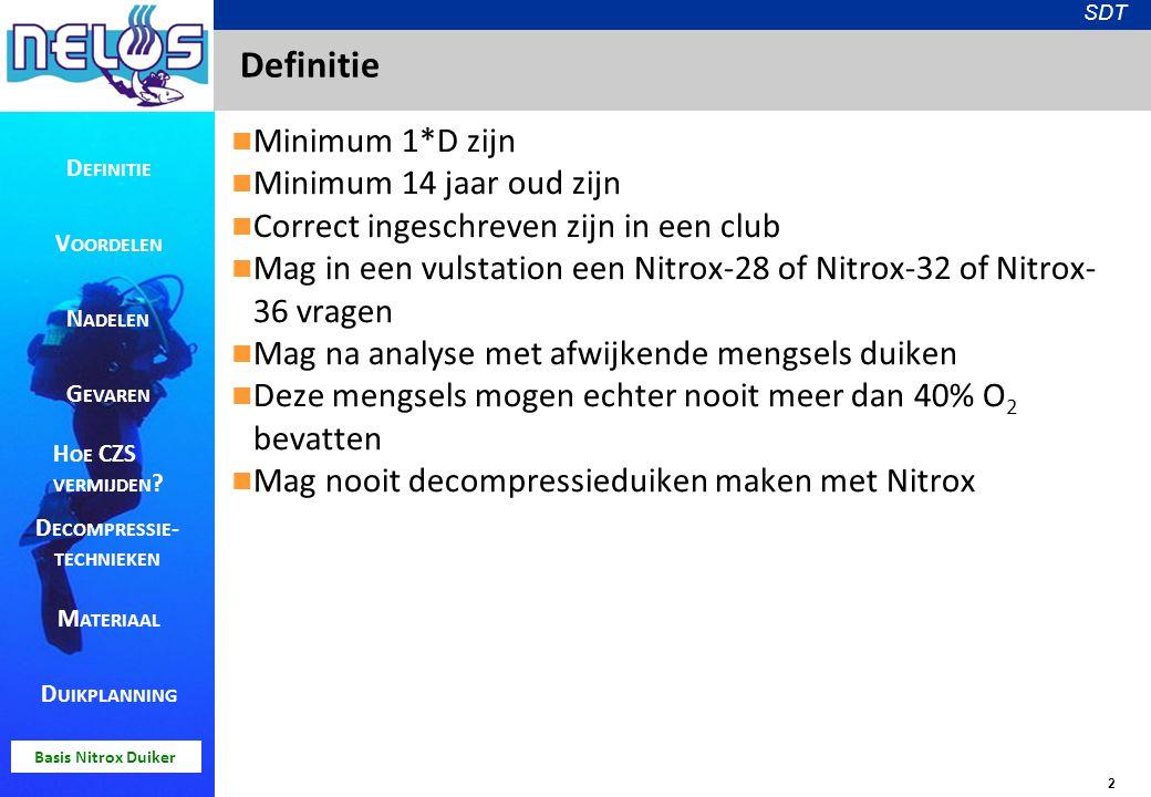 2 SDT Basis Nitrox Duiker Definitie Minimum 1*D zijn Minimum 14 jaar oud zijn Correct ingeschreven zijn in een club Mag in een vulstation een Nitrox-2
