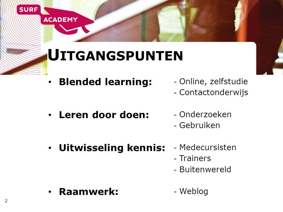 U ITGANGSPUNTEN 2 Blended learning: Leren door doen: Uitwisseling kennis: Raamwerk: - Online, zelfstudie - Contactonderwijs - Onderzoeken - Gebruiken - Medecursisten - Trainers - Buitenwereld - Weblog