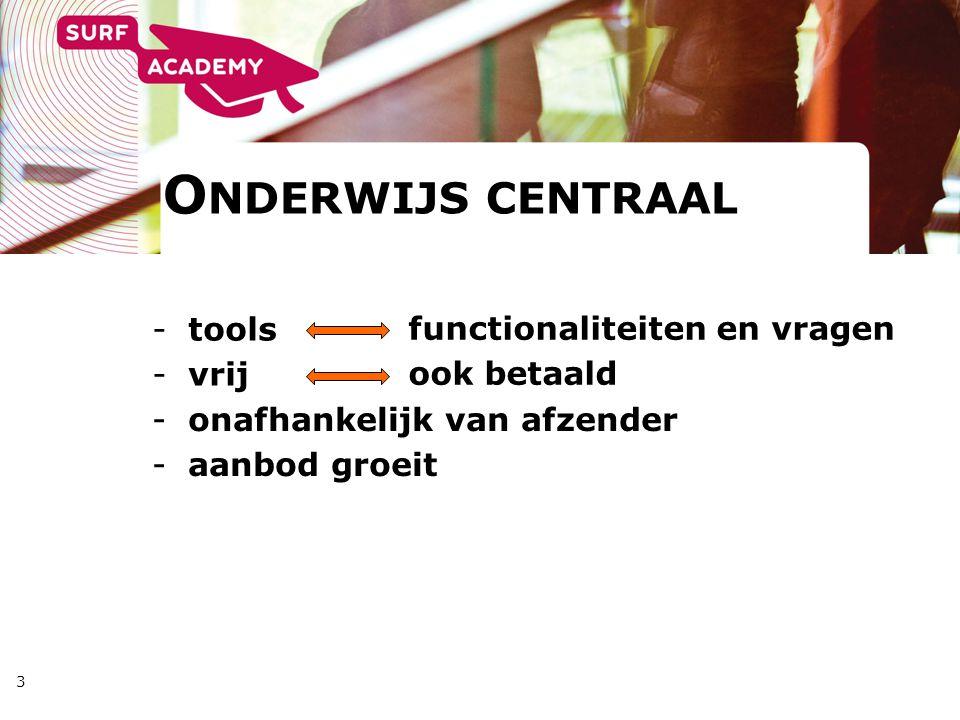 3 -tools -vrij functionaliteiten en vragen ook betaald O NDERWIJS CENTRAAL -onafhankelijk van afzender -aanbod groeit