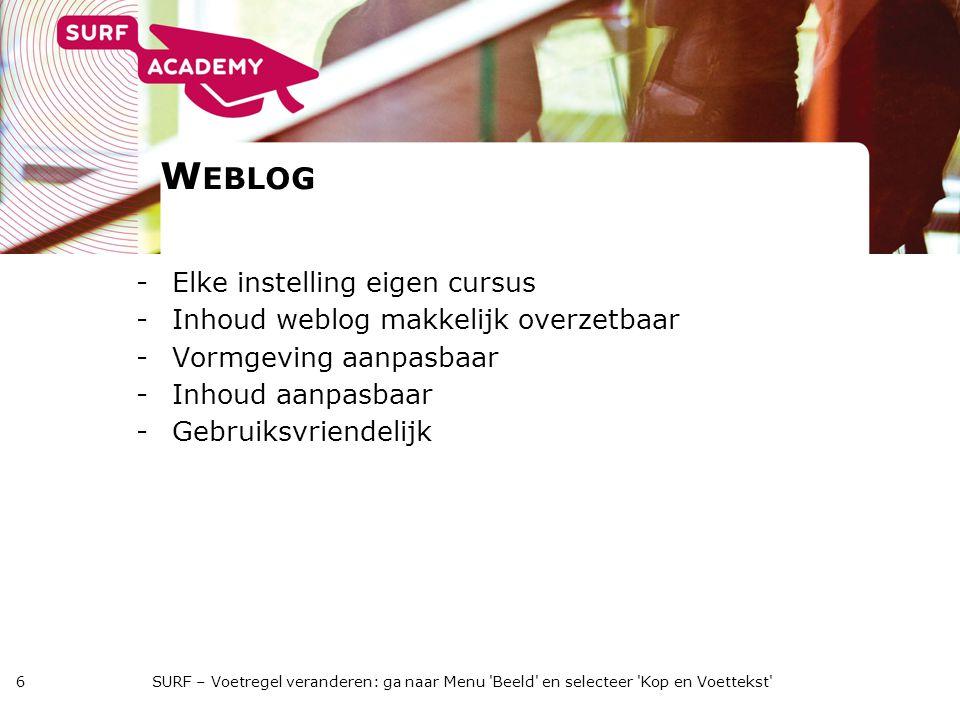 W EBLOG -Elke instelling eigen cursus -Inhoud weblog makkelijk overzetbaar -Vormgeving aanpasbaar -Inhoud aanpasbaar -Gebruiksvriendelijk SURF – Voetregel veranderen: ga naar Menu Beeld en selecteer Kop en Voettekst 6