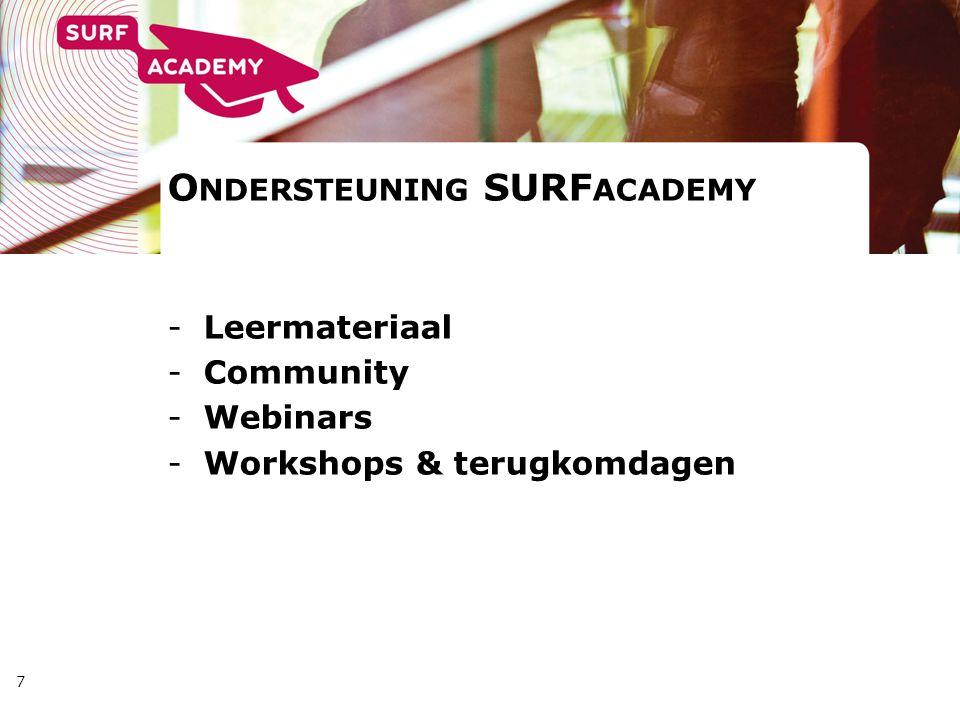 7 O NDERSTEUNING SURF ACADEMY -Leermateriaal -Community -Webinars -Workshops & terugkomdagen