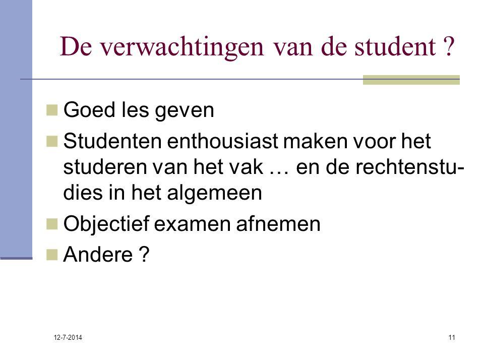 12-7-2014 11 De verwachtingen van de student ? Goed les geven Studenten enthousiast maken voor het studeren van het vak … en de rechtenstu- dies in he