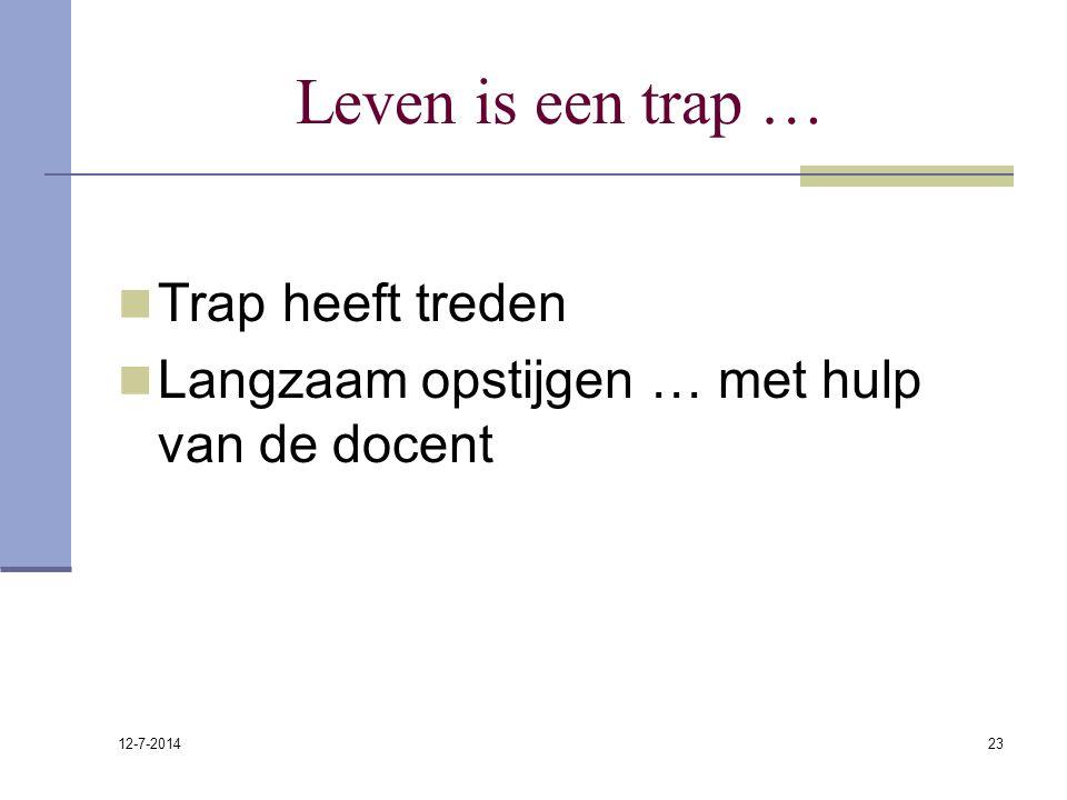 12-7-2014 23 Leven is een trap … Trap heeft treden Langzaam opstijgen … met hulp van de docent
