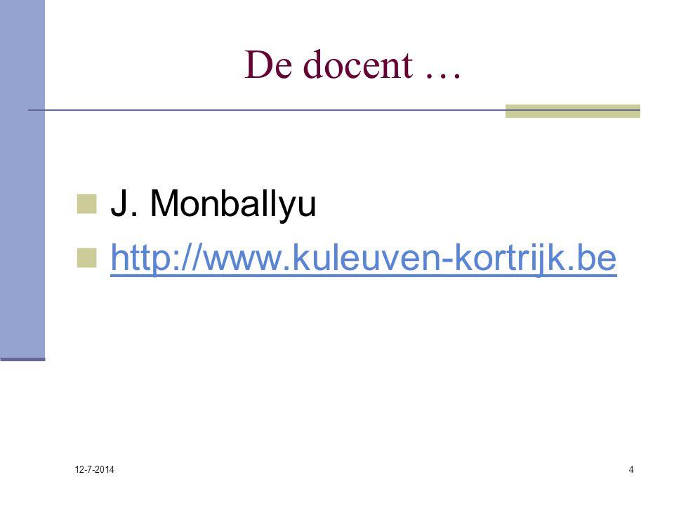 12-7-2014 4 De docent … J. Monballyu http://www.kuleuven-kortrijk.be