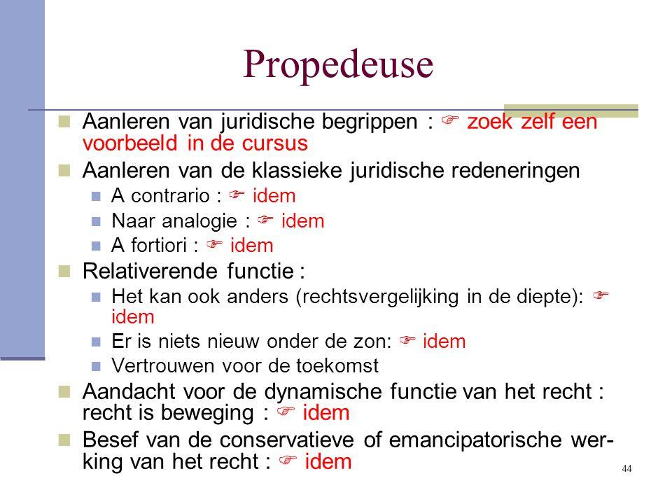 44 Propedeuse Aanleren van juridische begrippen :  zoek zelf een voorbeeld in de cursus Aanleren van de klassieke juridische redeneringen A contrario