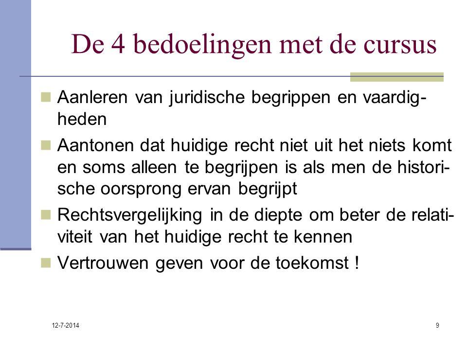 12-7-2014 9 De 4 bedoelingen met de cursus Aanleren van juridische begrippen en vaardig- heden Aantonen dat huidige recht niet uit het niets komt en s