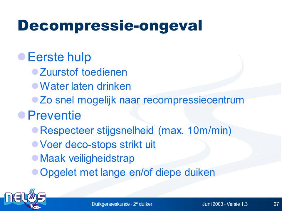 Juni 2003 - Versie 1.3Duikgeneeskunde - 2* duiker27 Decompressie-ongeval Eerste hulp Zuurstof toedienen Water laten drinken Zo snel mogelijk naar recompressiecentrum Preventie Respecteer stijgsnelheid (max.