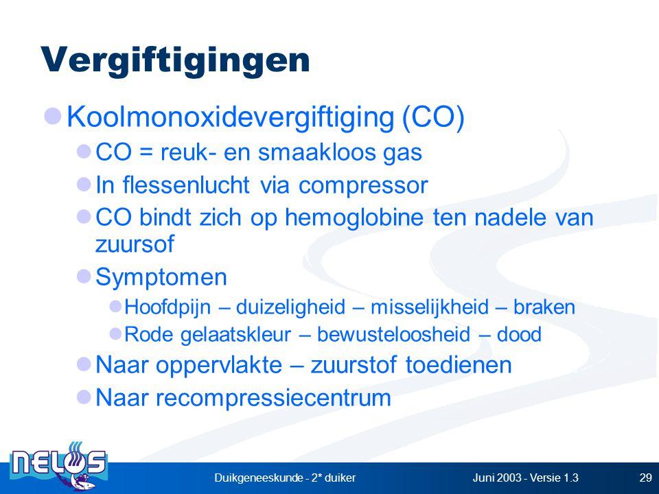 Juni 2003 - Versie 1.3Duikgeneeskunde - 2* duiker29 Vergiftigingen Koolmonoxidevergiftiging (CO) CO = reuk- en smaakloos gas In flessenlucht via compressor CO bindt zich op hemoglobine ten nadele van zuursof Symptomen Hoofdpijn – duizeligheid – misselijkheid – braken Rode gelaatskleur – bewusteloosheid – dood Naar oppervlakte – zuurstof toedienen Naar recompressiecentrum