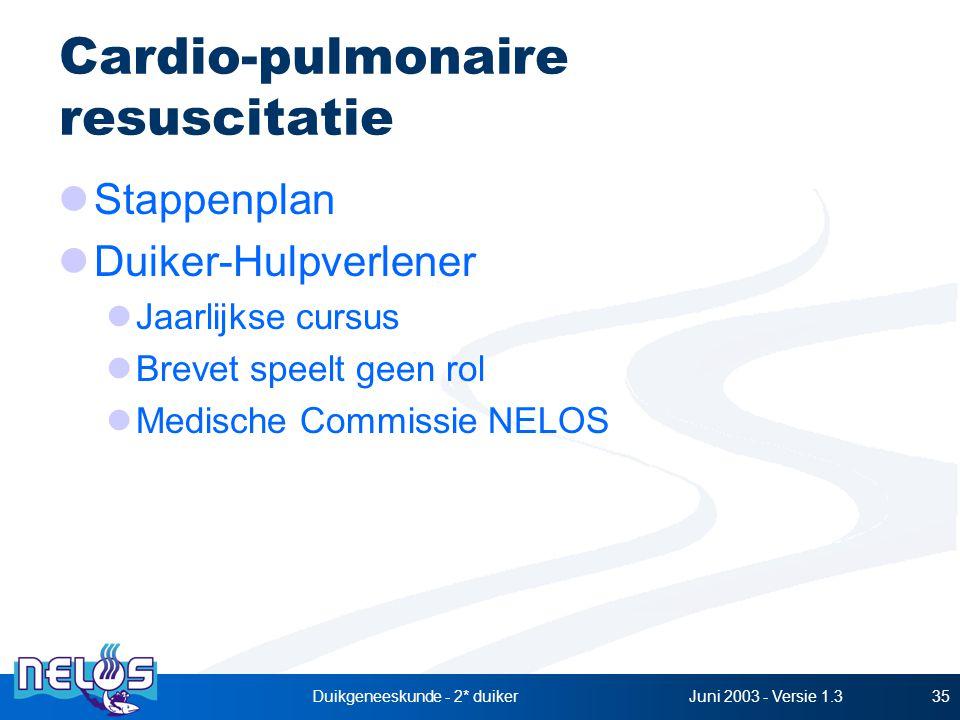 Juni 2003 - Versie 1.3Duikgeneeskunde - 2* duiker35 Cardio-pulmonaire resuscitatie Stappenplan Duiker-Hulpverlener Jaarlijkse cursus Brevet speelt geen rol Medische Commissie NELOS