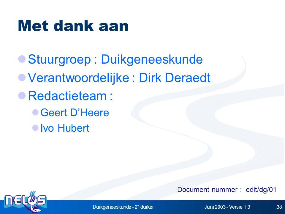 Juni 2003 - Versie 1.3Duikgeneeskunde - 2* duiker38 Met dank aan Stuurgroep : Duikgeneeskunde Verantwoordelijke : Dirk Deraedt Redactieteam : Geert D'Heere Ivo Hubert Document nummer : edit/dg/01