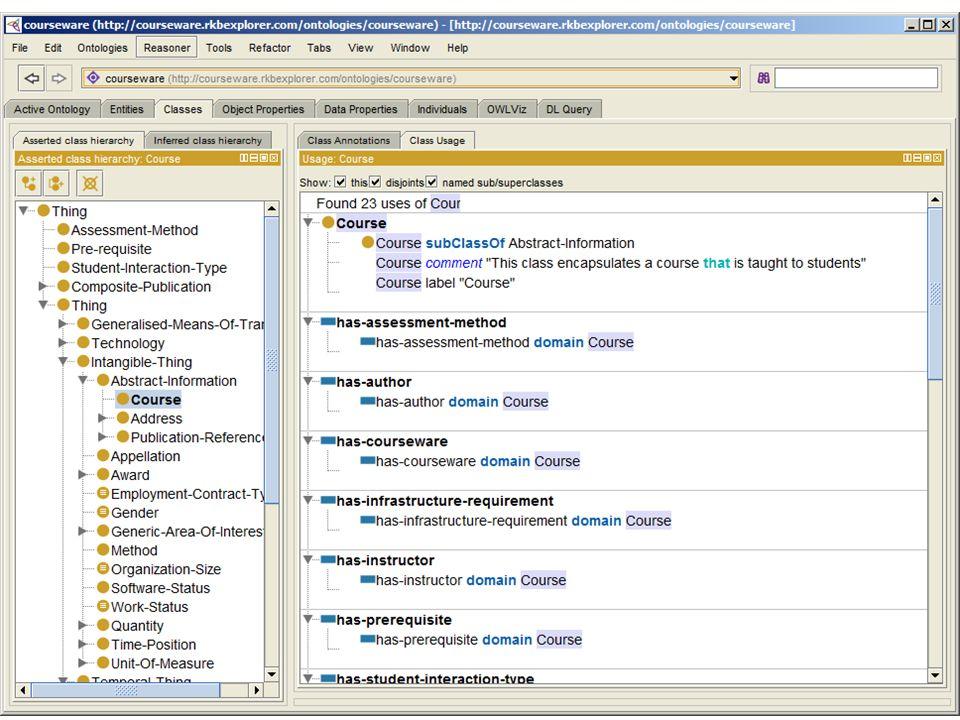 Cursus tools Semantic web tools –Query portals, Protégé ontology editor Wiki, via MediaWiki Semantic MediaWiki (SMW) –Documenten plus: data, data rapportages –Export als Semantic Web (beperkt) Semantic Forms –Form-based data invoer en browse