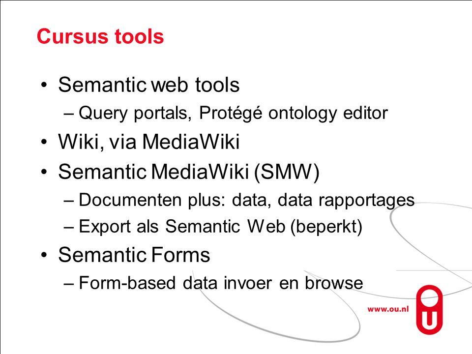 Semantic Wiki extension: OWL Wiki Forms Beginpunt: semantic wiki –non-SW form-gebaseerde data invoer –Data browsing –Limited Semantic web export Nieuw: Semantic web binnen de wiki –Forms voor Semantic web ontologie editing –Default interface voor invoer en browse Kan aangepast worden –Meer SW export: ontologie met data
