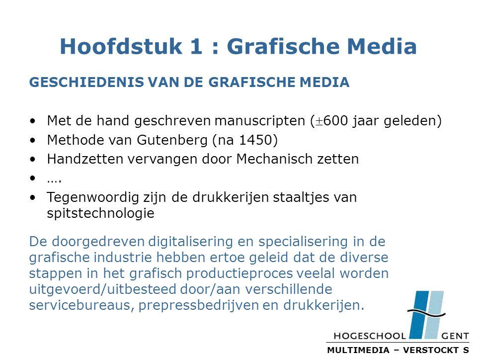 MULTIMEDIA – VERSTOCKT S Hoofdstuk 1 : Grafische Media GESCHIEDENIS VAN DE GRAFISCHE MEDIA Met de hand geschreven manuscripten (600 jaar geleden) Methode van Gutenberg (na 1450) Handzetten vervangen door Mechanisch zetten ….