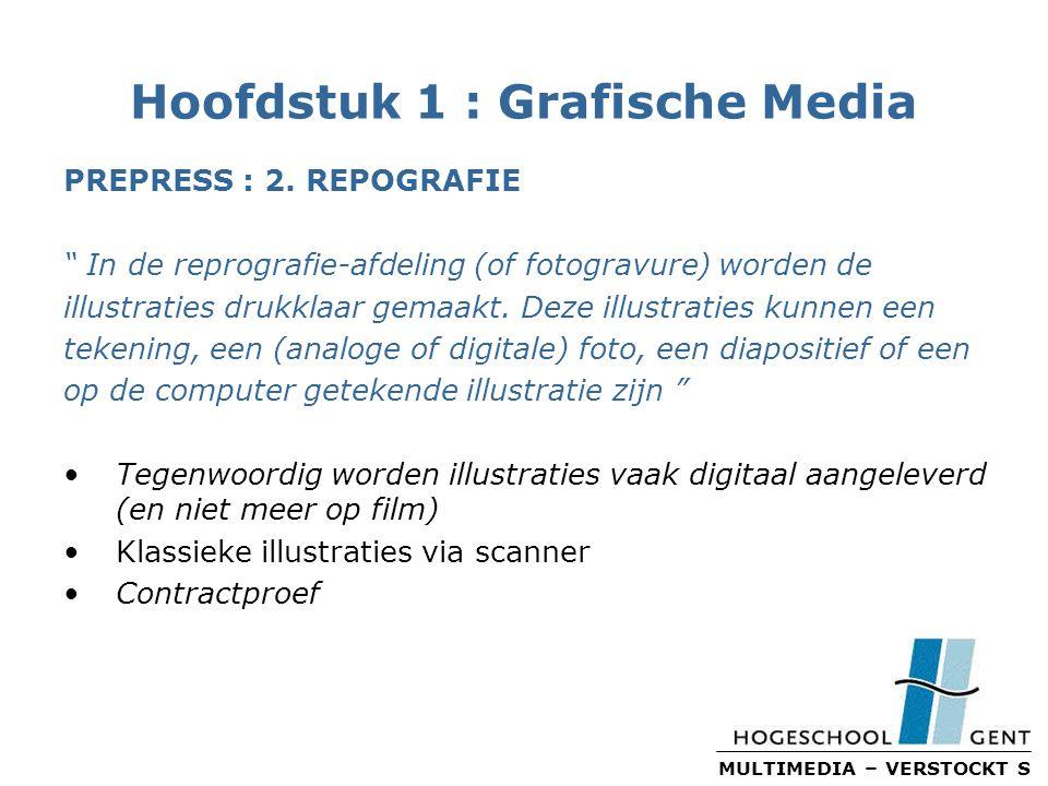 MULTIMEDIA – VERSTOCKT S Hoofdstuk 1 : Grafische Media PREPRESS : 2.