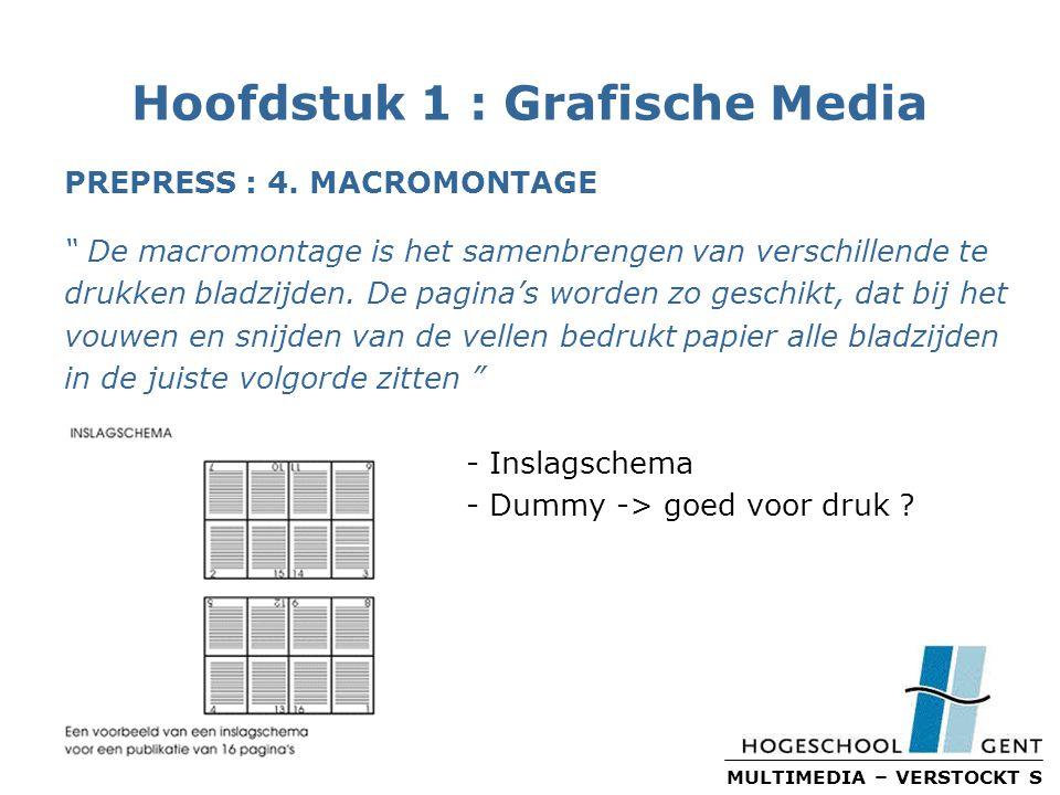 MULTIMEDIA – VERSTOCKT S Hoofdstuk 1 : Grafische Media PREPRESS : 4.