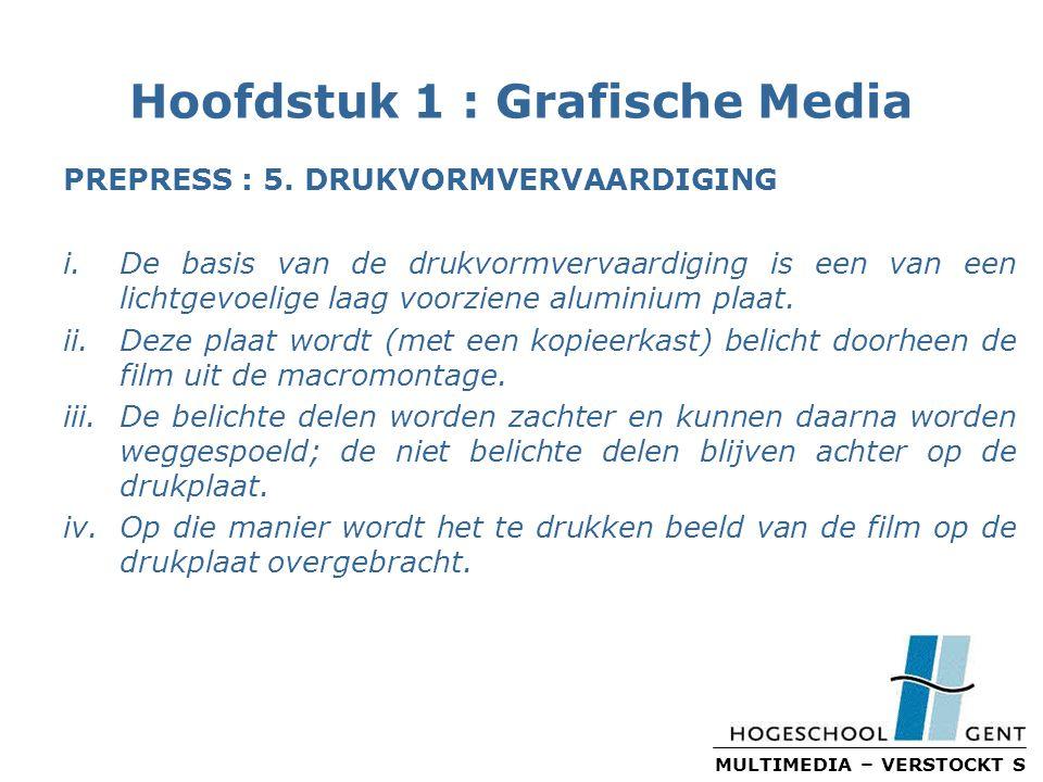 MULTIMEDIA – VERSTOCKT S Hoofdstuk 1 : Grafische Media PREPRESS : 5.