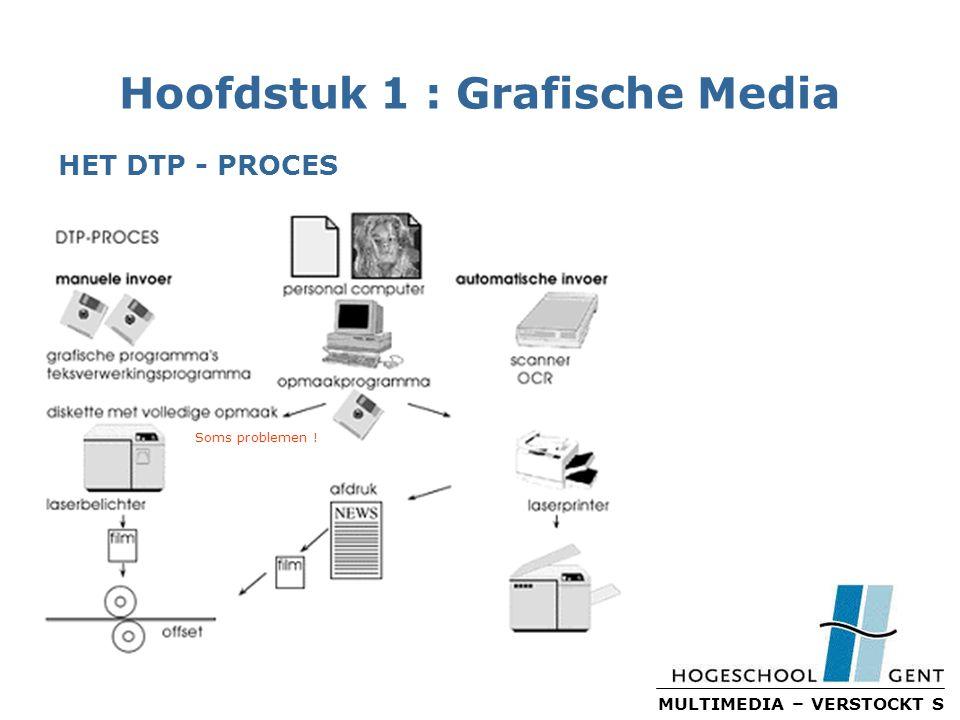 MULTIMEDIA – VERSTOCKT S Hoofdstuk 1 : Grafische Media HET DTP - PROCES Soms problemen !