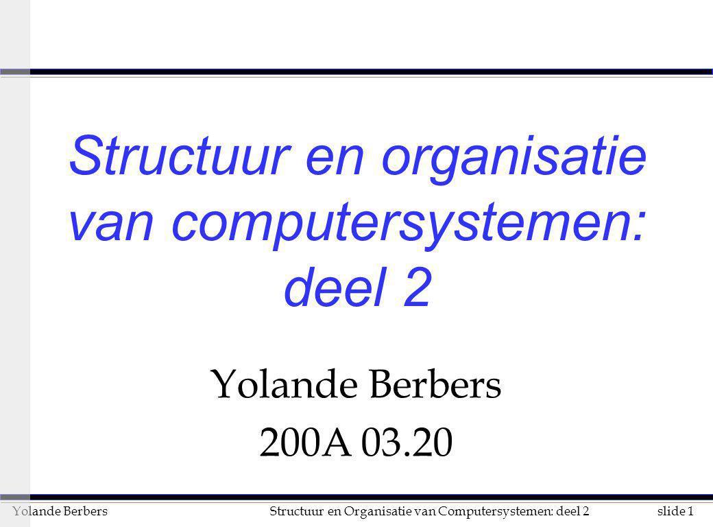 slide 72Structuur en Organisatie van Computersystemen: deel 2Yolande Berbers het meten van performantie (vervolg) n benchmark suites u verzameling van benchmarks 3 voordelen: u zwakheid van een bepaalde benchmark uit de suite wordt gecompenseerd door de andere benchmarks uit de suite u vergelijkingswaarden zijn voor vele machines bekend 3 nadelen: u methode om de resultaten van de verschillende benchmarks samen te brengen is heel belangrijk u geeft niet echt weer wat later als software zal draaien 3 voorbeelden: u SPEC92, SPEC95, SPEC CPU2000, TPC