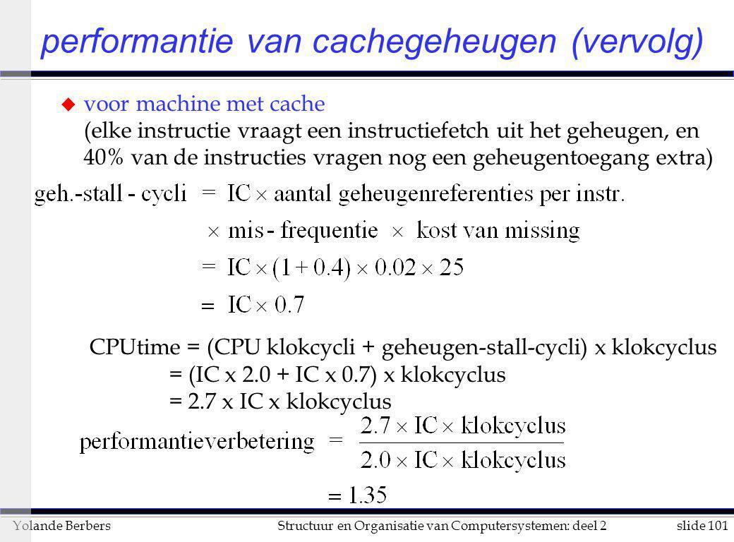 slide 101Structuur en Organisatie van Computersystemen: deel 2Yolande Berbers performantie van cachegeheugen (vervolg) u voor machine met cache (elke