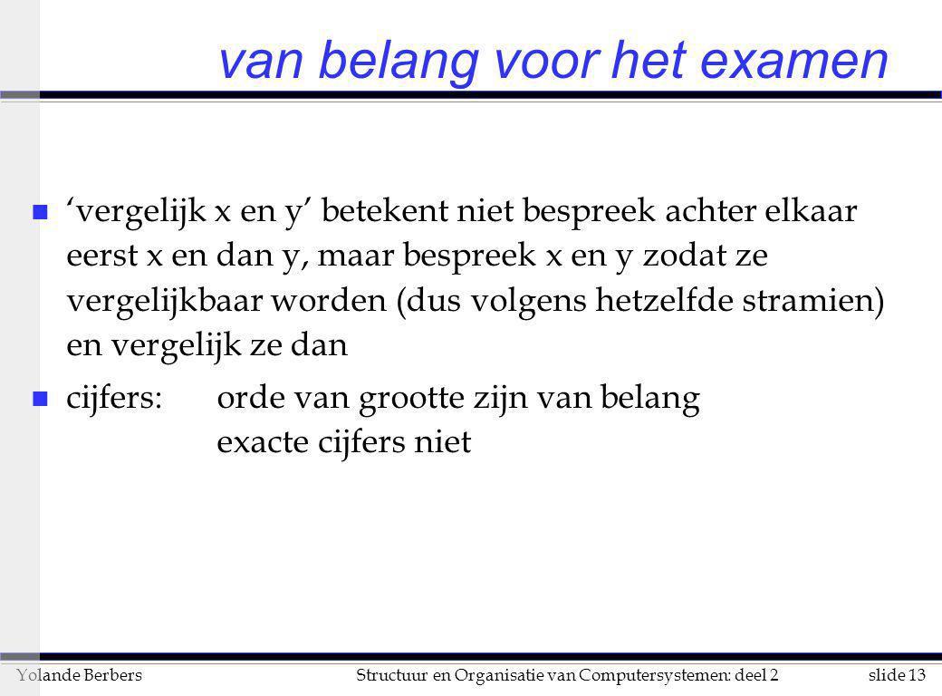 slide 13Structuur en Organisatie van Computersystemen: deel 2Yolande Berbers van belang voor het examen n 'vergelijk x en y' betekent niet bespreek ac