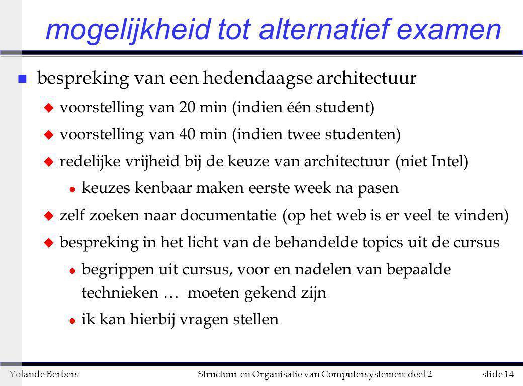 slide 14Structuur en Organisatie van Computersystemen: deel 2Yolande Berbers mogelijkheid tot alternatief examen n bespreking van een hedendaagse arch