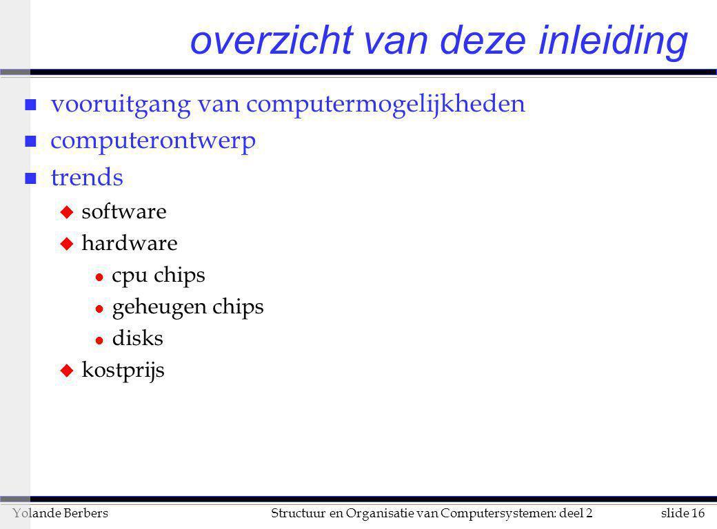 slide 16Structuur en Organisatie van Computersystemen: deel 2Yolande Berbers overzicht van deze inleiding n vooruitgang van computermogelijkheden n co