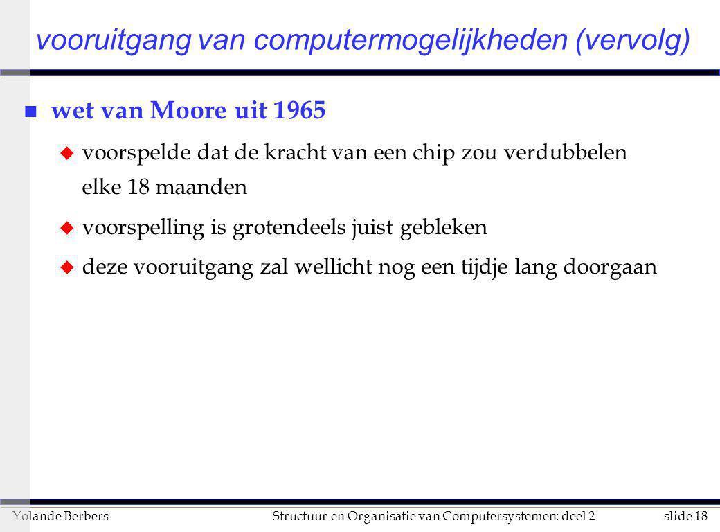 slide 18Structuur en Organisatie van Computersystemen: deel 2Yolande Berbers vooruitgang van computermogelijkheden (vervolg) n wet van Moore uit 1965