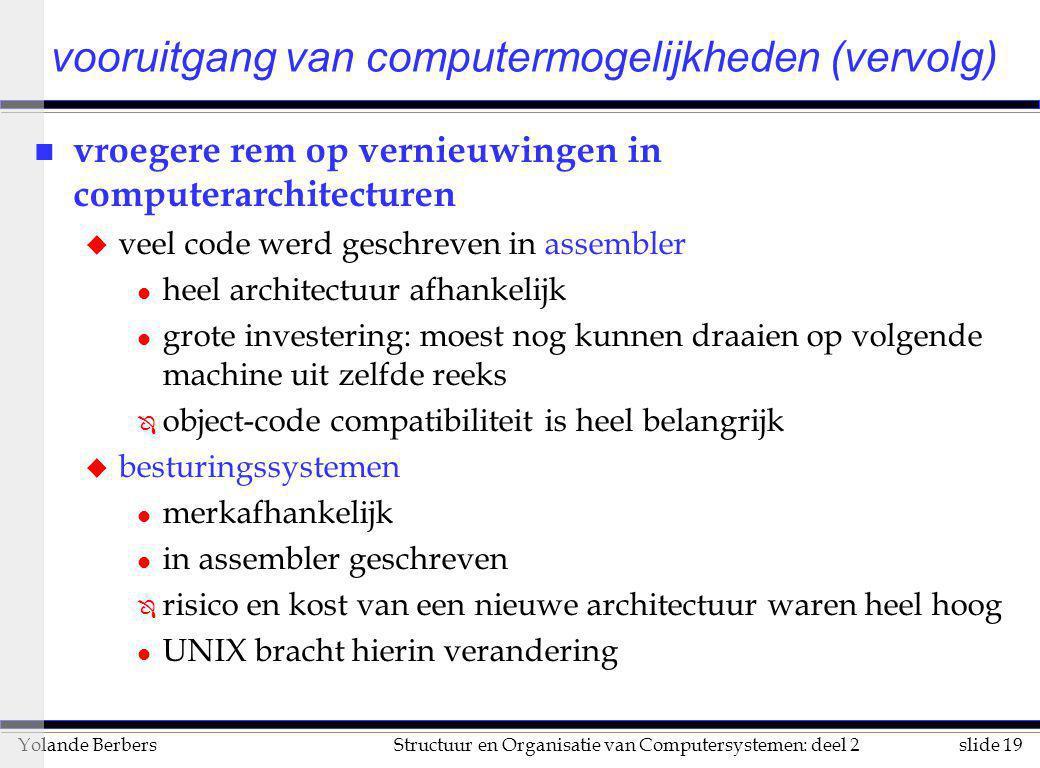 slide 19Structuur en Organisatie van Computersystemen: deel 2Yolande Berbers vooruitgang van computermogelijkheden (vervolg) n vroegere rem op vernieu