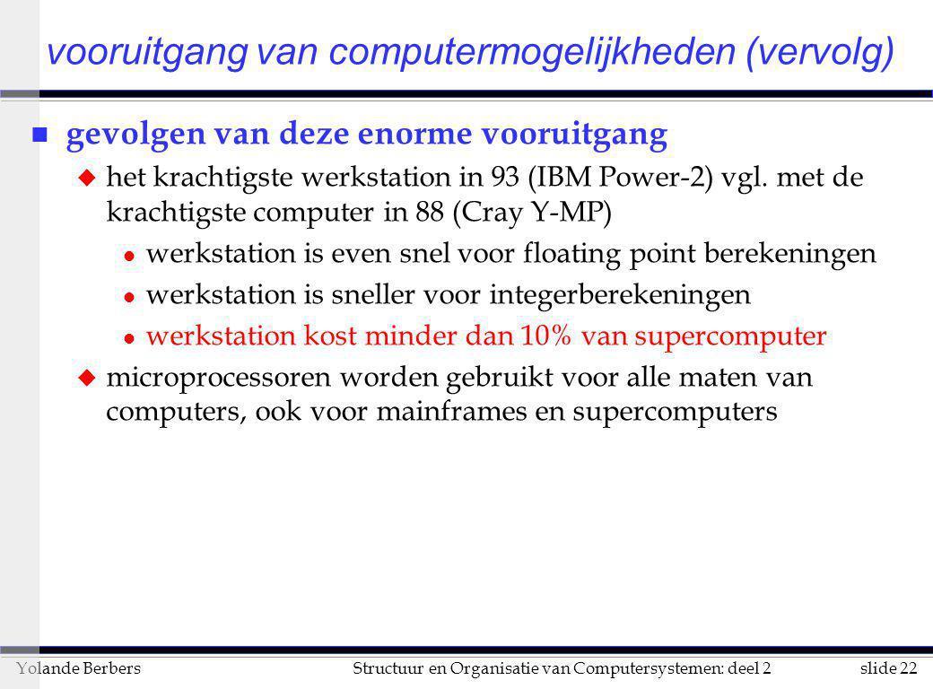 slide 22Structuur en Organisatie van Computersystemen: deel 2Yolande Berbers n gevolgen van deze enorme vooruitgang u het krachtigste werkstation in 9