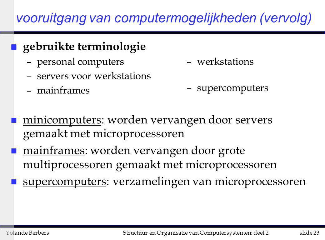 slide 23Structuur en Organisatie van Computersystemen: deel 2Yolande Berbers n minicomputers: worden vervangen door servers gemaakt met microprocessor
