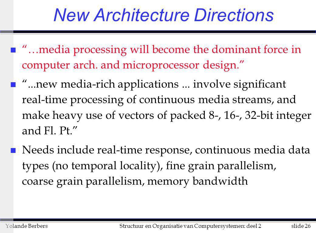 """slide 26Structuur en Organisatie van Computersystemen: deel 2Yolande Berbers New Architecture Directions n """"…media processing will become the dominant"""