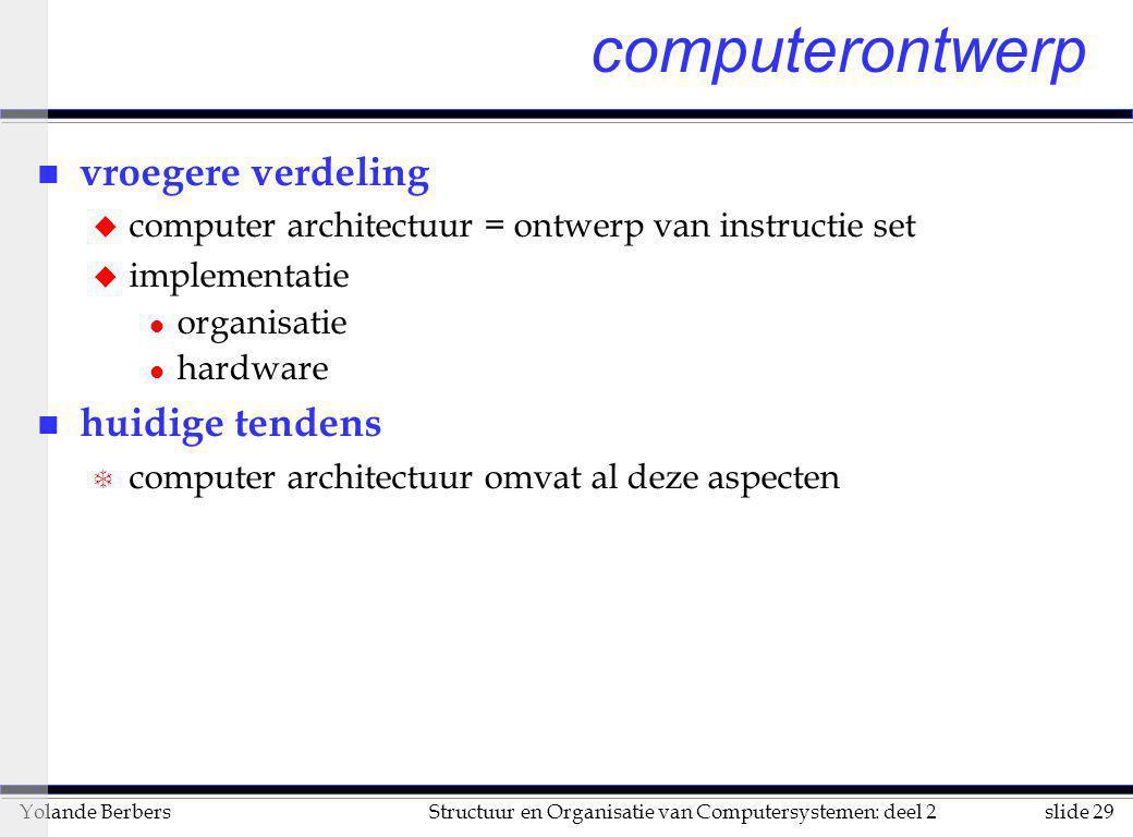 slide 29Structuur en Organisatie van Computersystemen: deel 2Yolande Berbers computerontwerp n vroegere verdeling u computer architectuur = ontwerp va