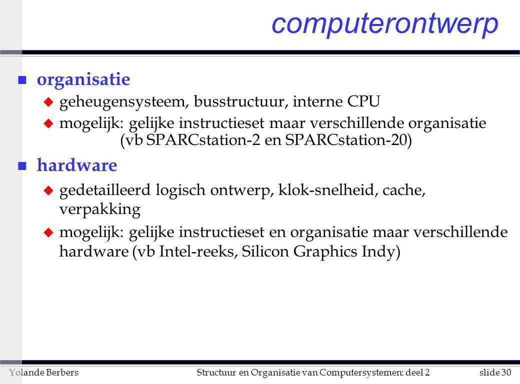 slide 30Structuur en Organisatie van Computersystemen: deel 2Yolande Berbers computerontwerp n organisatie u geheugensysteem, busstructuur, interne CP