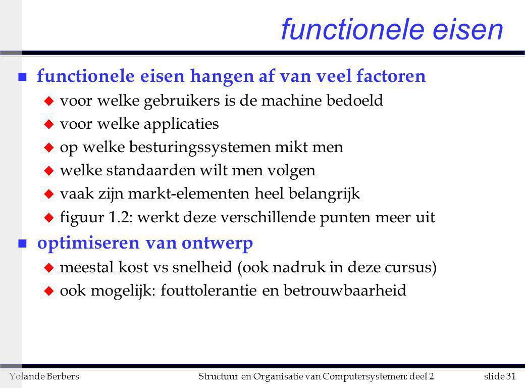 slide 31Structuur en Organisatie van Computersystemen: deel 2Yolande Berbers functionele eisen n functionele eisen hangen af van veel factoren u voor