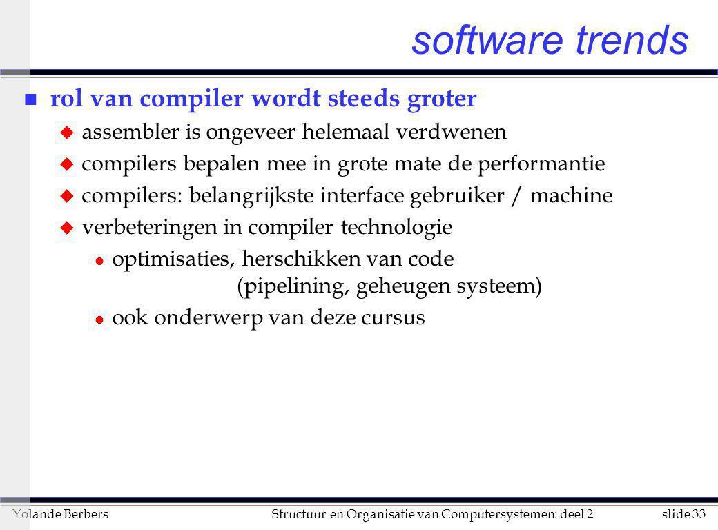 slide 33Structuur en Organisatie van Computersystemen: deel 2Yolande Berbers software trends n rol van compiler wordt steeds groter u assembler is ong