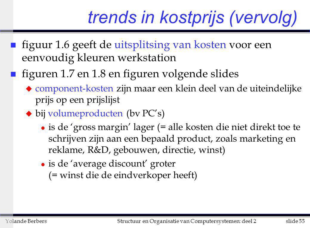 slide 55Structuur en Organisatie van Computersystemen: deel 2Yolande Berbers trends in kostprijs (vervolg) n figuur 1.6 geeft de uitsplitsing van kost