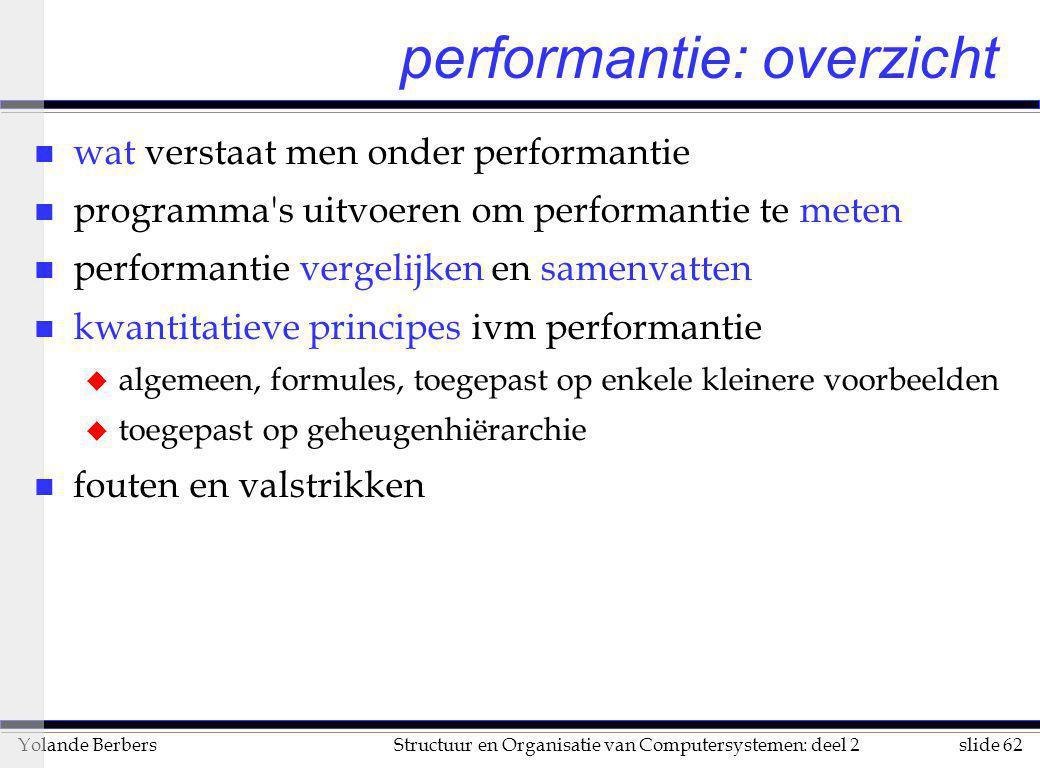 slide 62Structuur en Organisatie van Computersystemen: deel 2Yolande Berbers performantie: overzicht n wat verstaat men onder performantie n programma