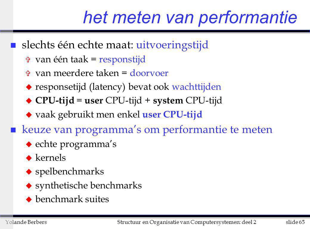 slide 65Structuur en Organisatie van Computersystemen: deel 2Yolande Berbers het meten van performantie n slechts één echte maat: uitvoeringstijd V va