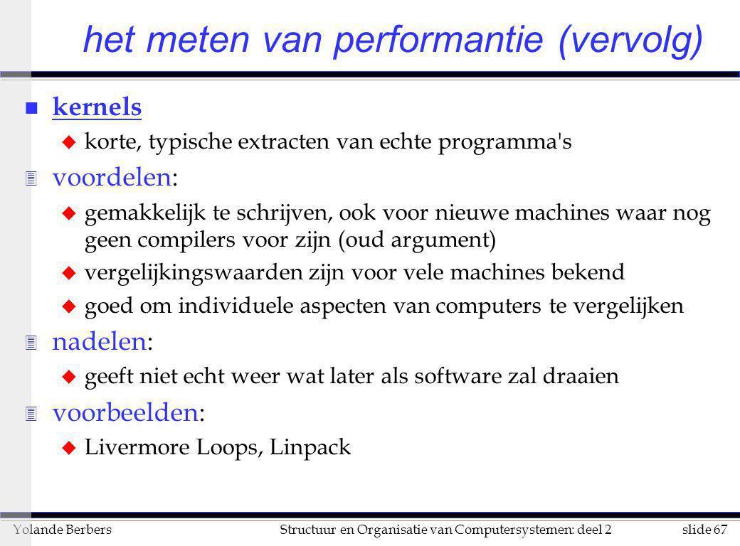 slide 67Structuur en Organisatie van Computersystemen: deel 2Yolande Berbers n kernels u korte, typische extracten van echte programma's 3 voordelen: