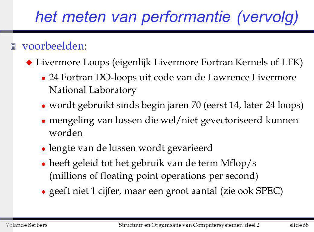 slide 68Structuur en Organisatie van Computersystemen: deel 2Yolande Berbers 3 voorbeelden: u Livermore Loops (eigenlijk Livermore Fortran Kernels of