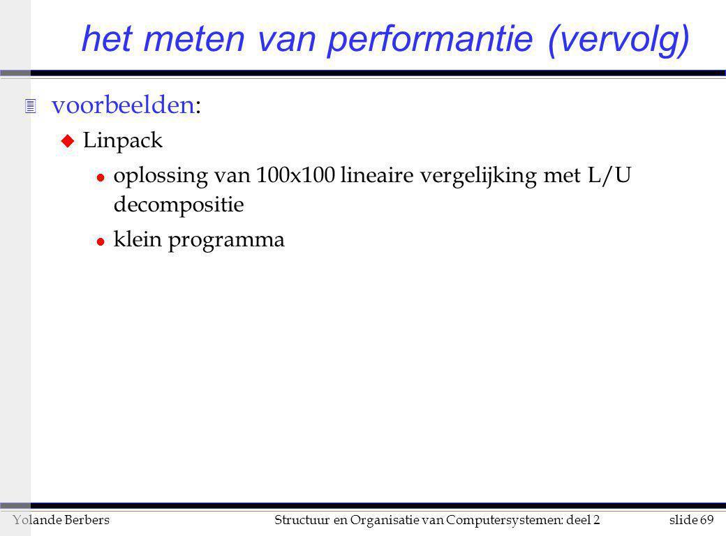 slide 69Structuur en Organisatie van Computersystemen: deel 2Yolande Berbers 3 voorbeelden: u Linpack l oplossing van 100x100 lineaire vergelijking me