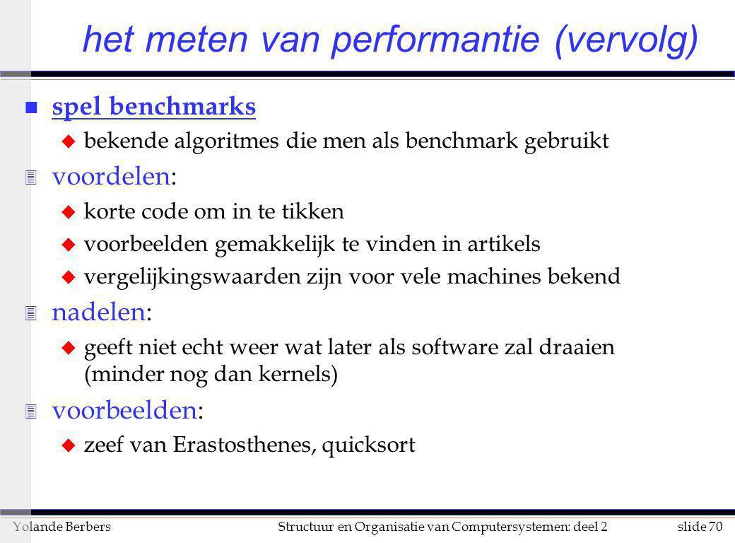 slide 70Structuur en Organisatie van Computersystemen: deel 2Yolande Berbers n spel benchmarks u bekende algoritmes die men als benchmark gebruikt 3 v