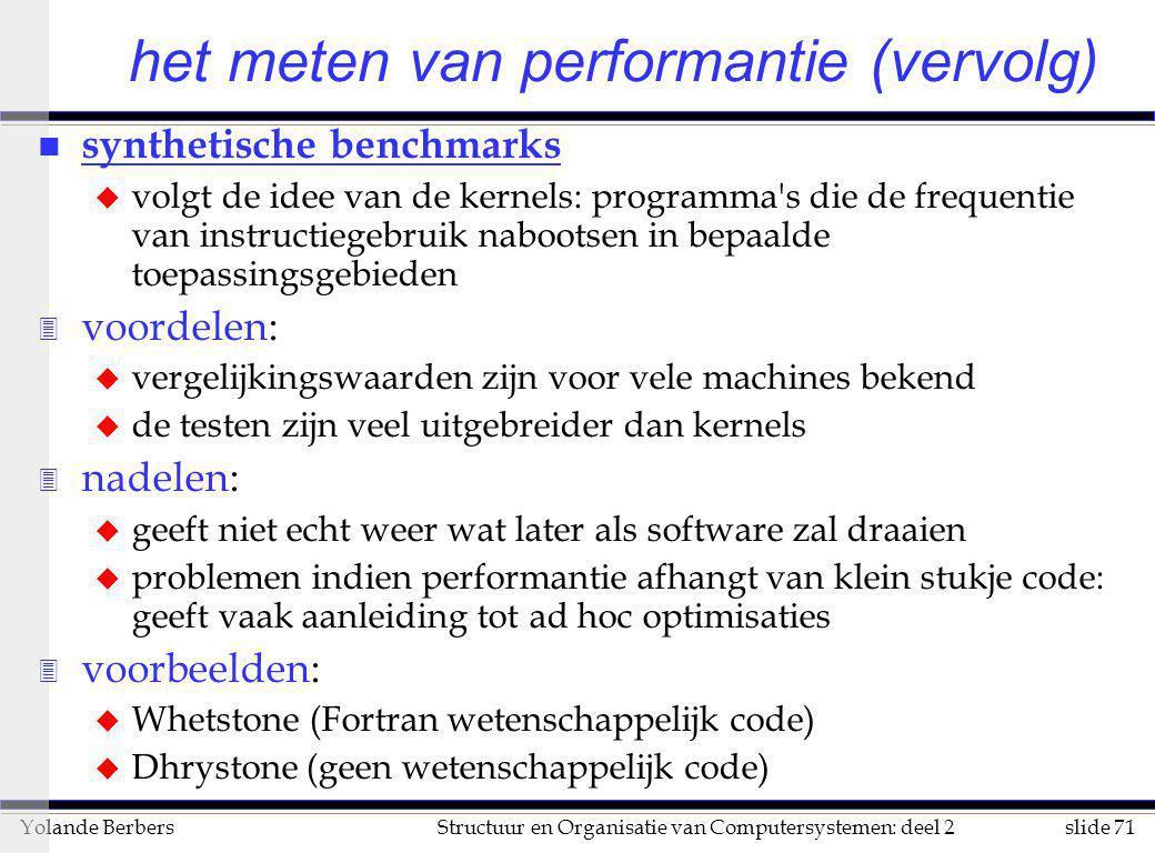 slide 71Structuur en Organisatie van Computersystemen: deel 2Yolande Berbers n synthetische benchmarks u volgt de idee van de kernels: programma's die